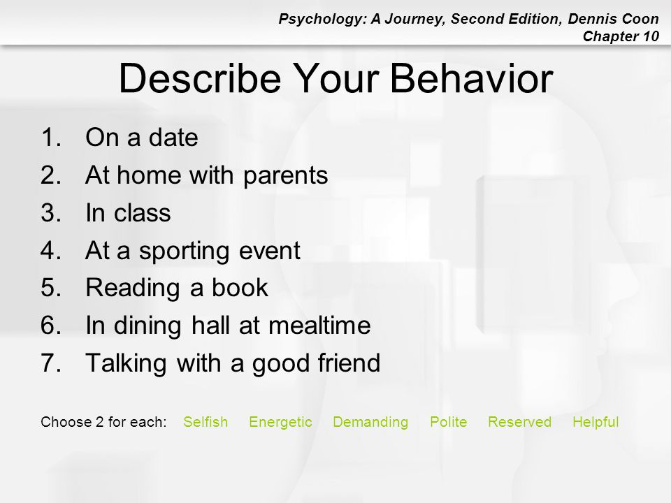 Describe Your Behavior