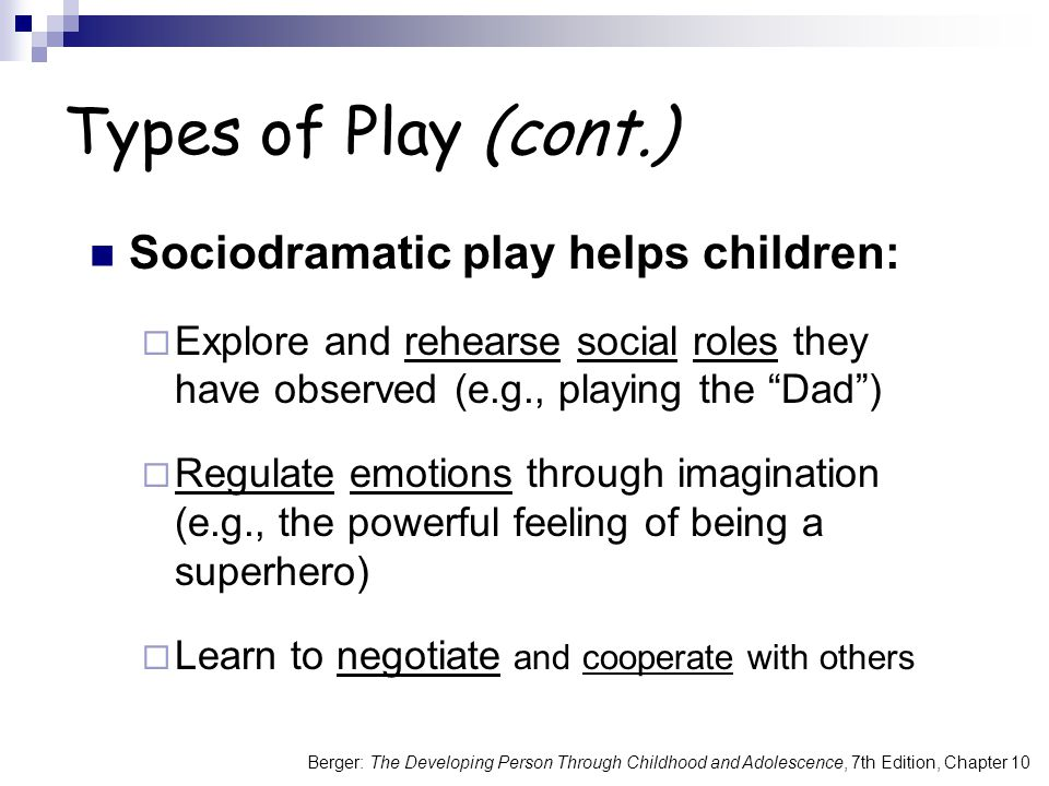 Types of Play (cont.) Sociodramatic play helps children: