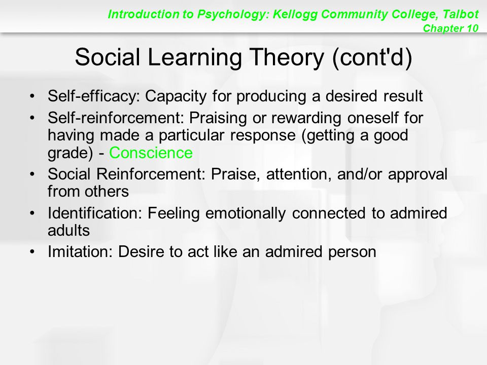 Social Learning Theory (cont d)