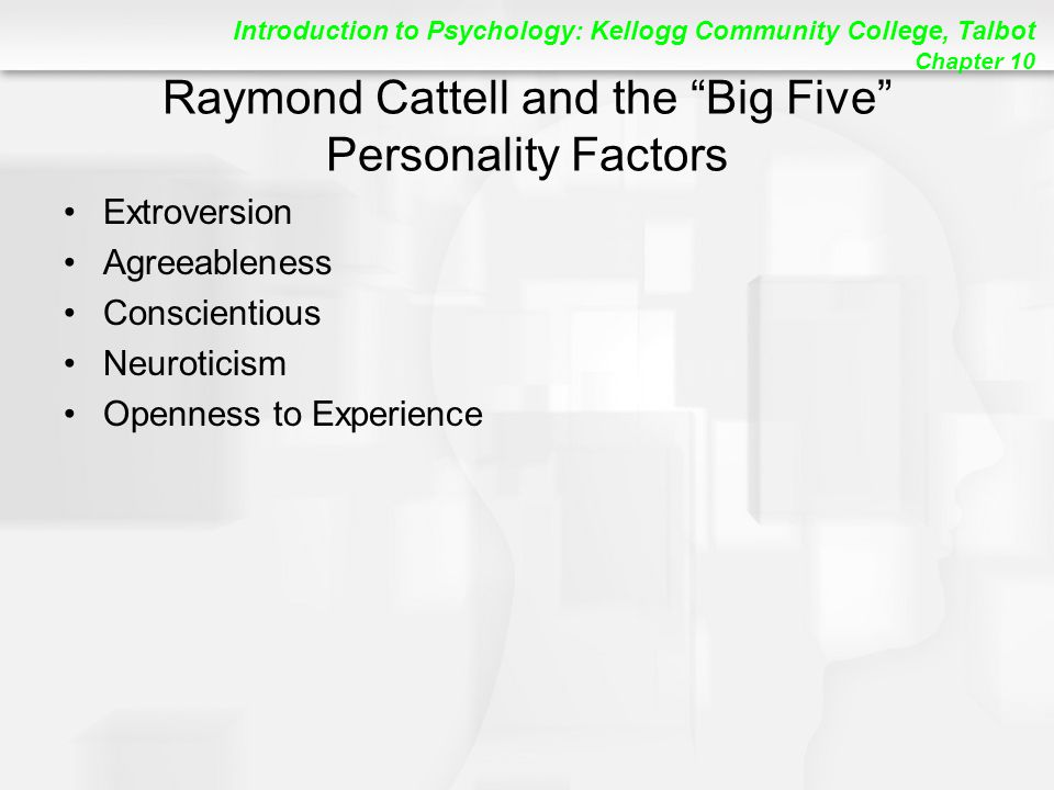 Raymond Cattell and the Big Five Personality Factors