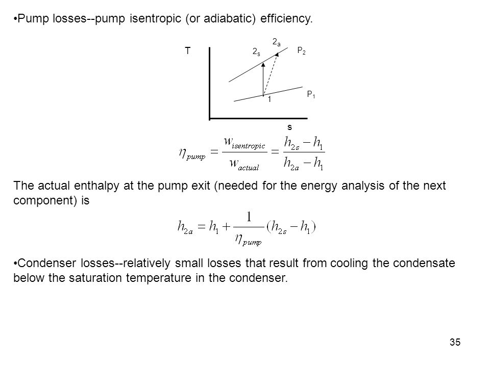 Pump losses--pump isentropic (or adiabatic) efficiency.