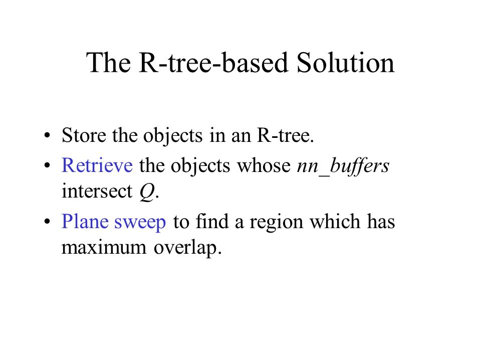 The R-tree-based Solution