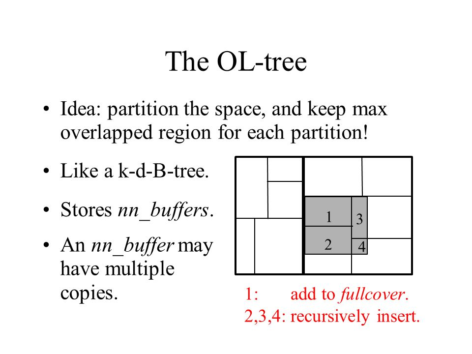 The OL-tree Idea: partition the space, and keep max overlapped region for each partition! Like a k-d-B-tree.