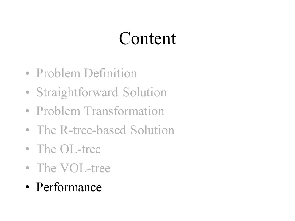 Content Problem Definition Straightforward Solution