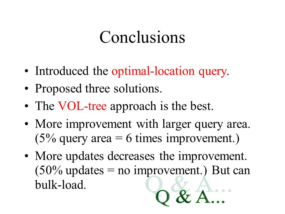 Conclusions Q & A... Introduced the optimal-location query.