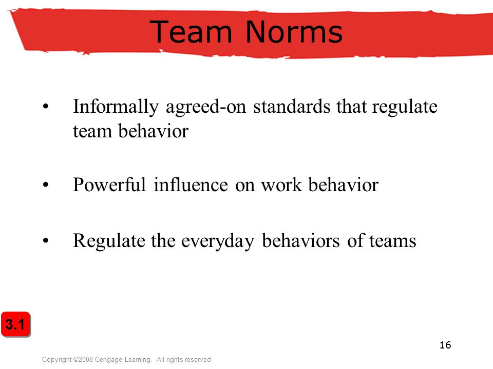 Team Norms Informally agreed-on standards that regulate team behavior