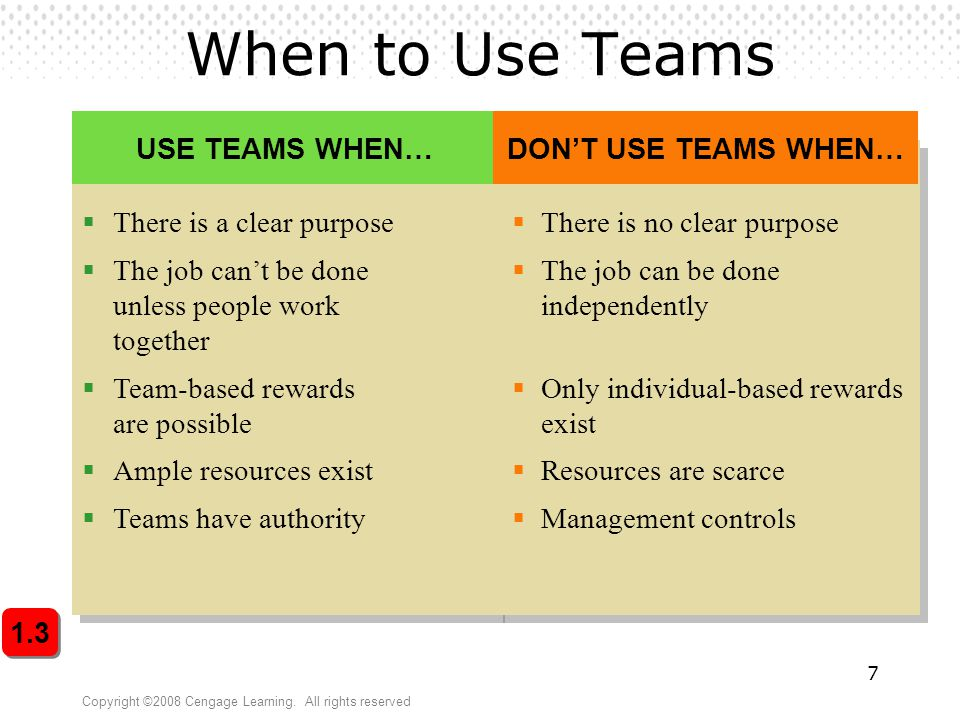 When to Use Teams There is a clear purpose