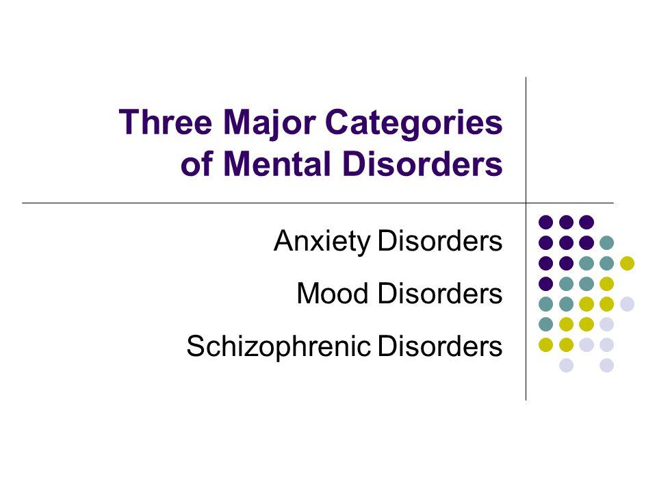 Three Major Categories of Mental Disorders