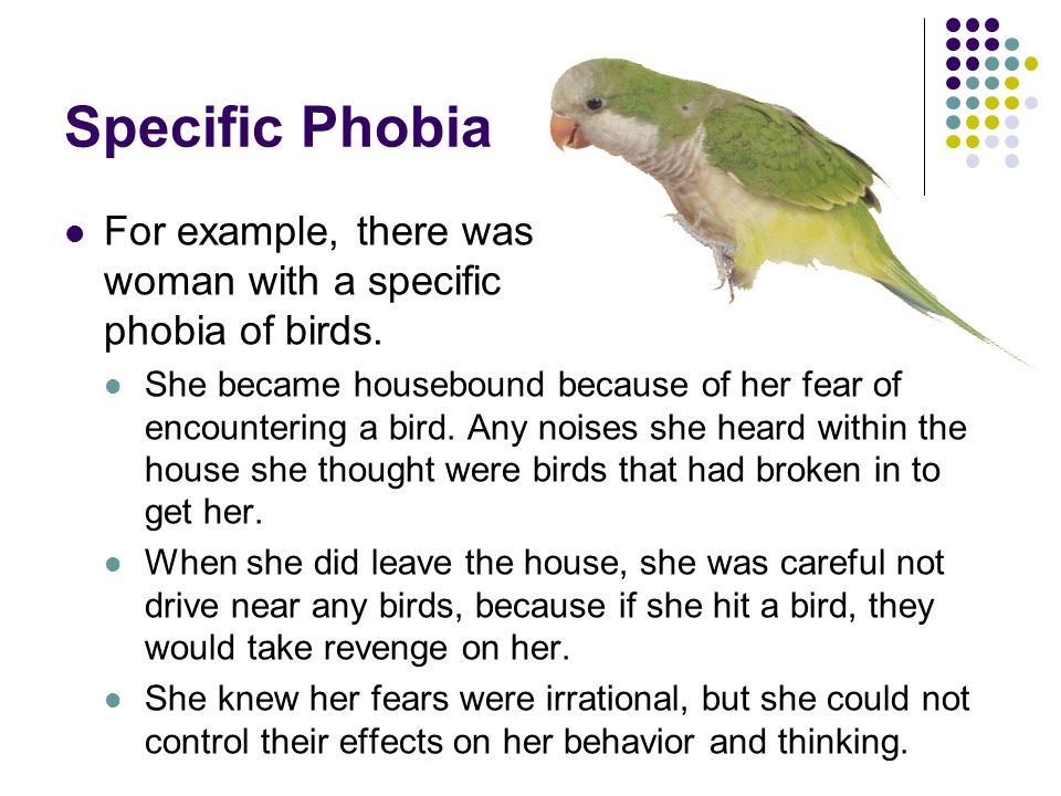 Specific Phobia For example, there was woman with a specific phobia of birds.