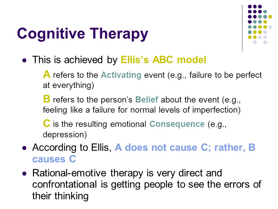 Cognitive Therapy This is achieved by Ellis's ABC model. A refers to the Activating event (e.g., failure to be perfect at everything)