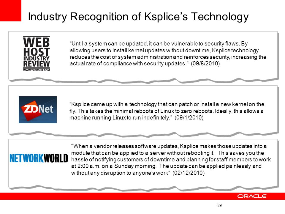 Industry Recognition of Ksplice's Technology