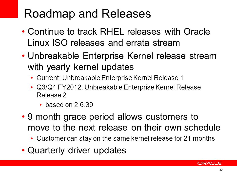 Roadmap and Releases Continue to track RHEL releases with Oracle Linux ISO releases and errata stream.