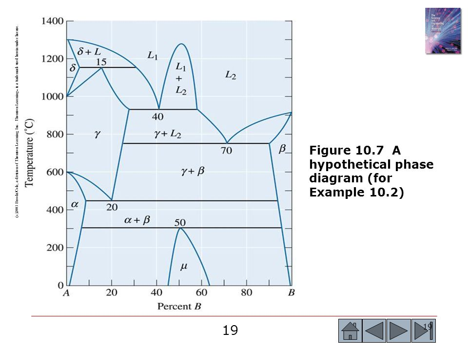 Figure 10.7 A hypothetical phase diagram (for Example 10.2)