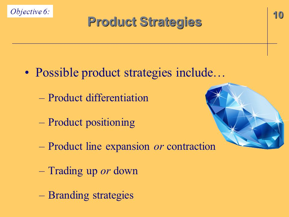 Possible product strategies include…
