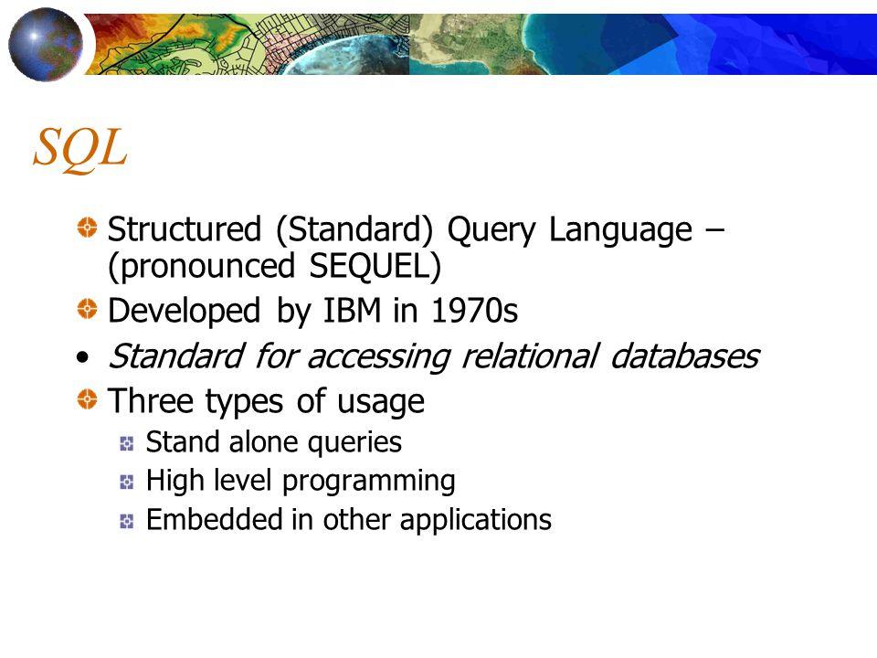 SQL Structured (Standard) Query Language – (pronounced SEQUEL)