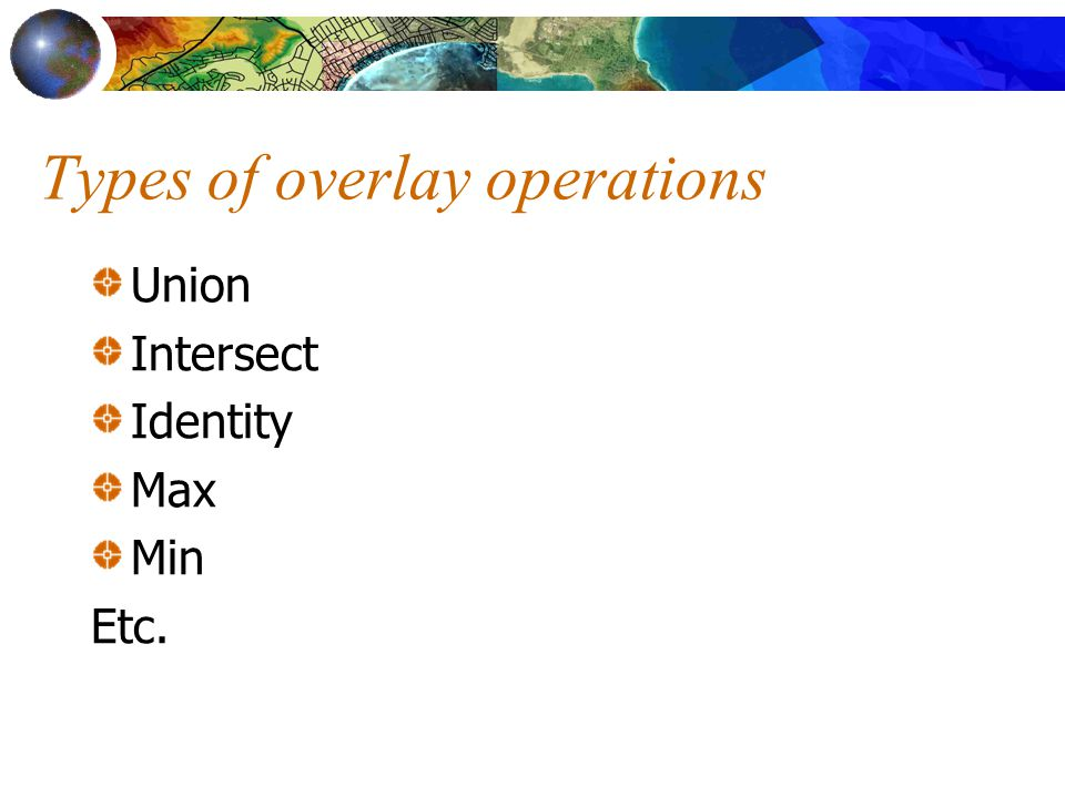 Types of overlay operations