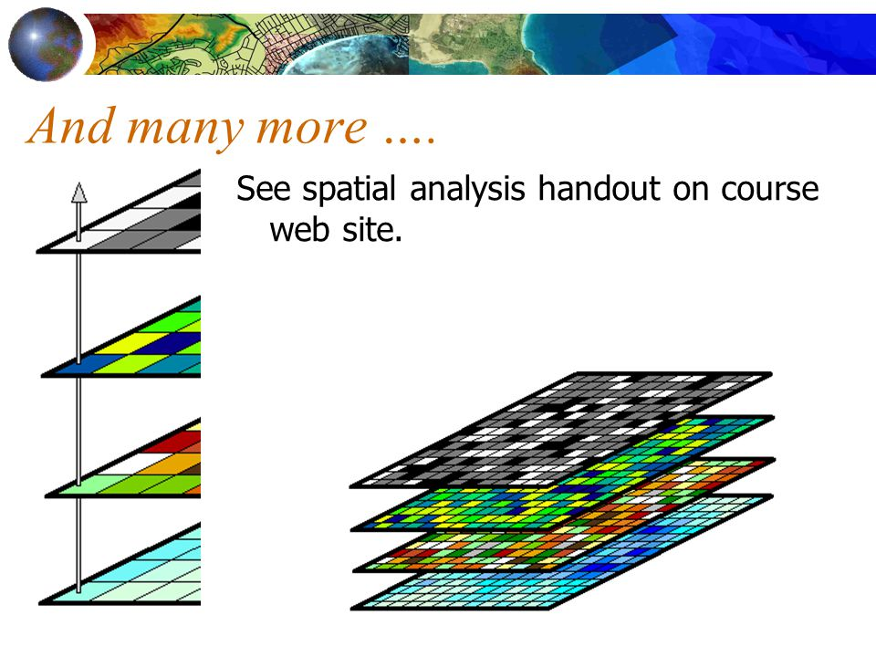 And many more …. See spatial analysis handout on course web site.