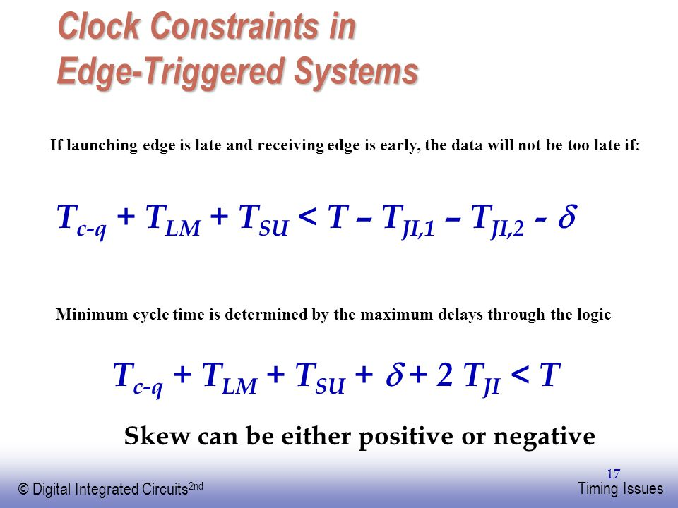 Clock Constraints in Edge-Triggered Systems