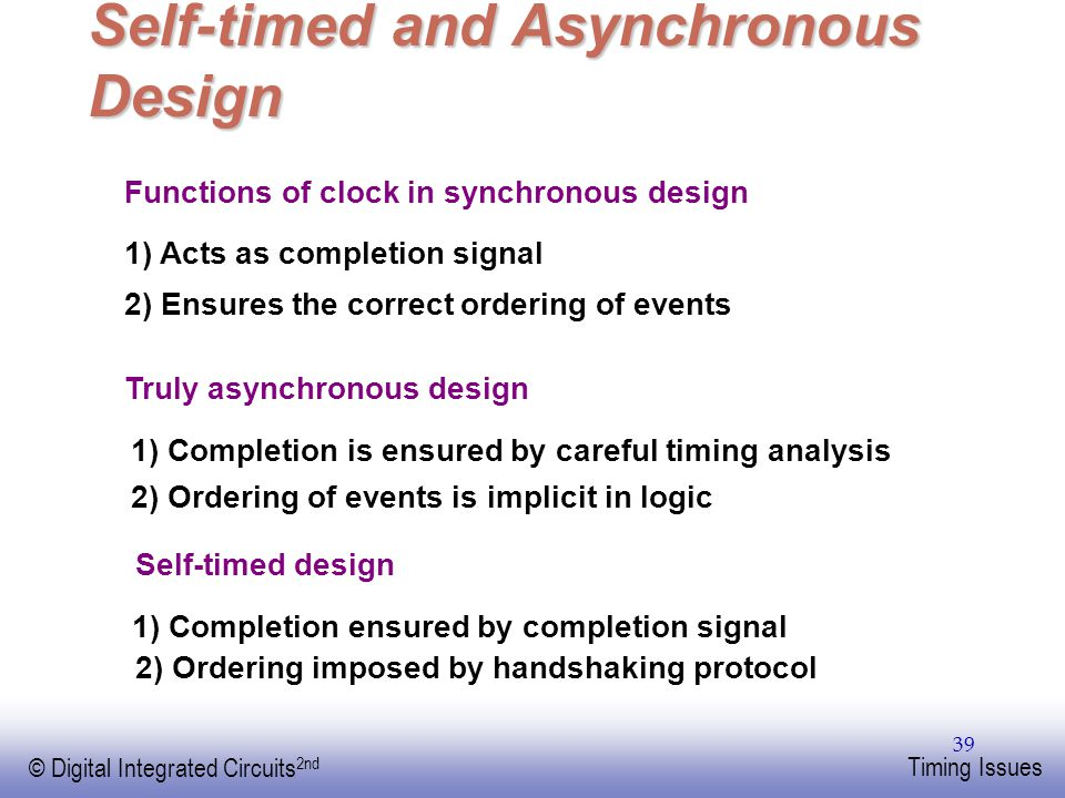 Self-timed and Asynchronous Design