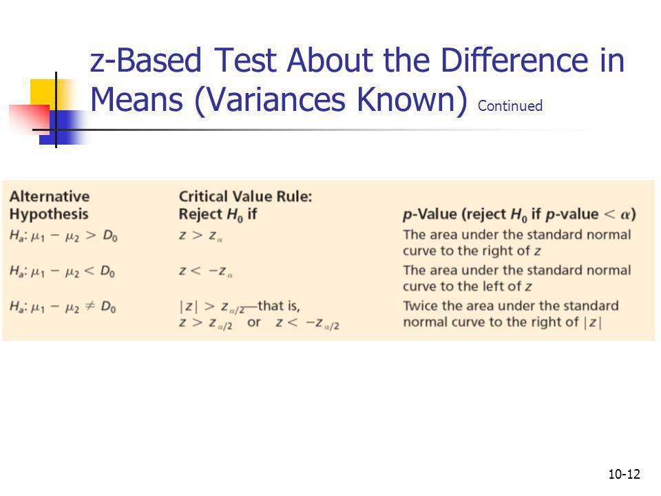 z-Based Test About the Difference in Means (Variances Known) Continued