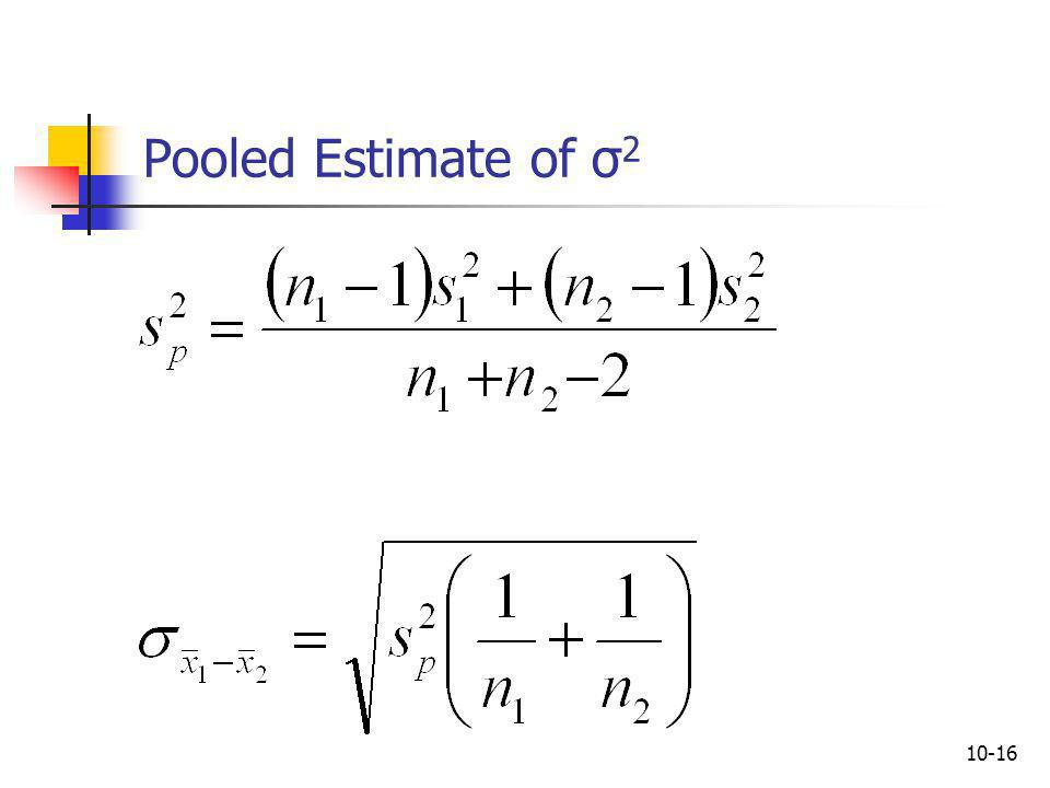 Pooled Estimate of σ2