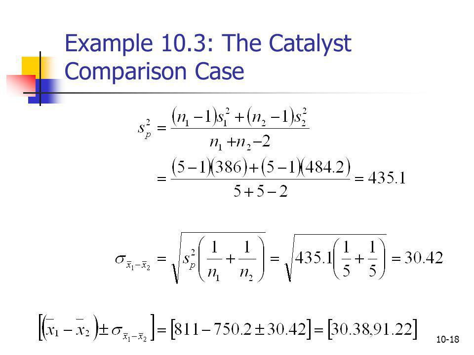 Example 10.3: The Catalyst Comparison Case