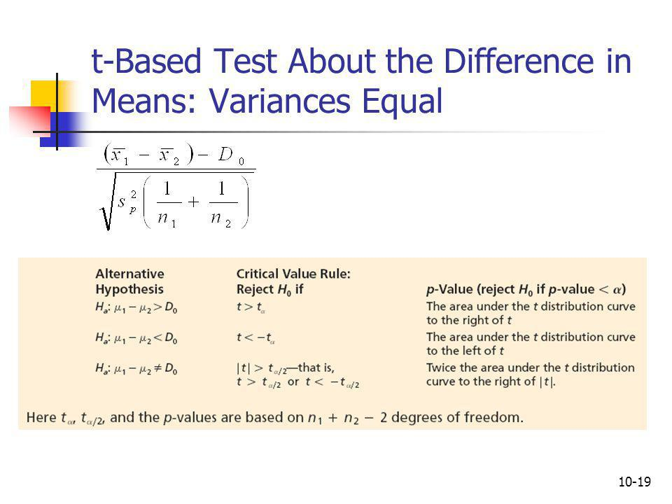 t-Based Test About the Difference in Means: Variances Equal