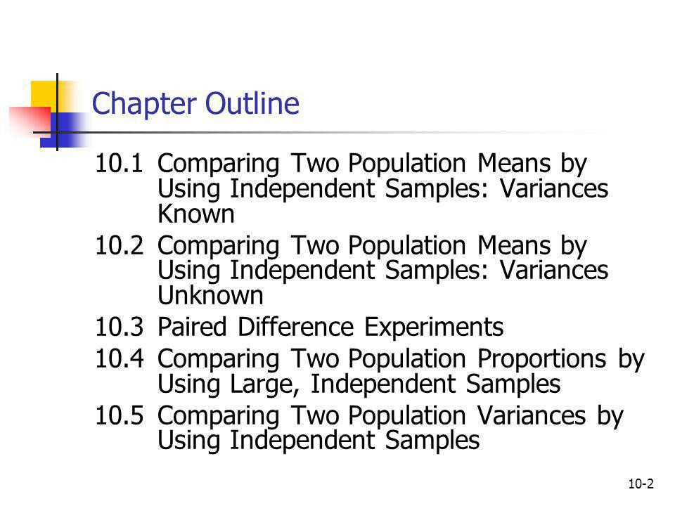 Chapter Outline 10.1 Comparing Two Population Means by Using Independent Samples: Variances Known.