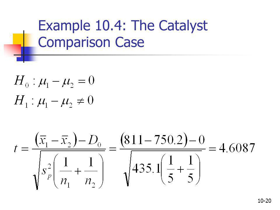 Example 10.4: The Catalyst Comparison Case