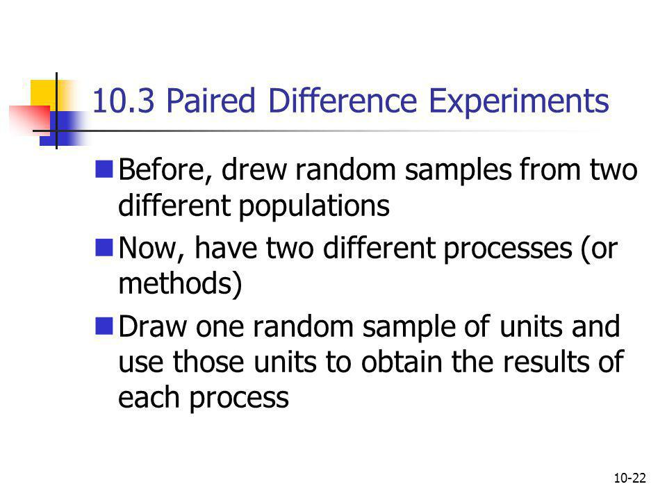 10.3 Paired Difference Experiments