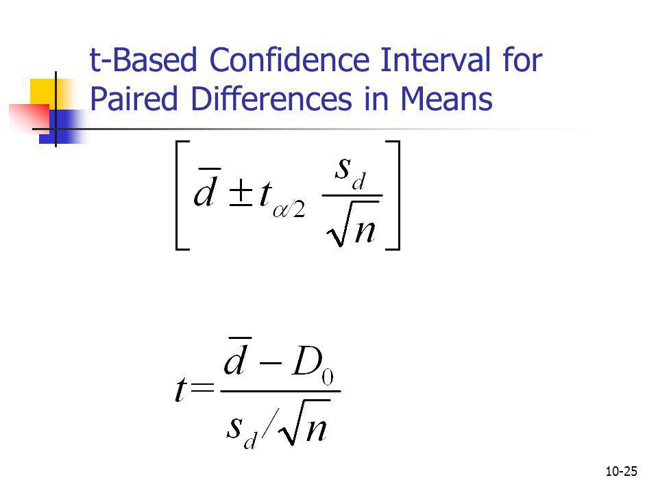 t-Based Confidence Interval for Paired Differences in Means