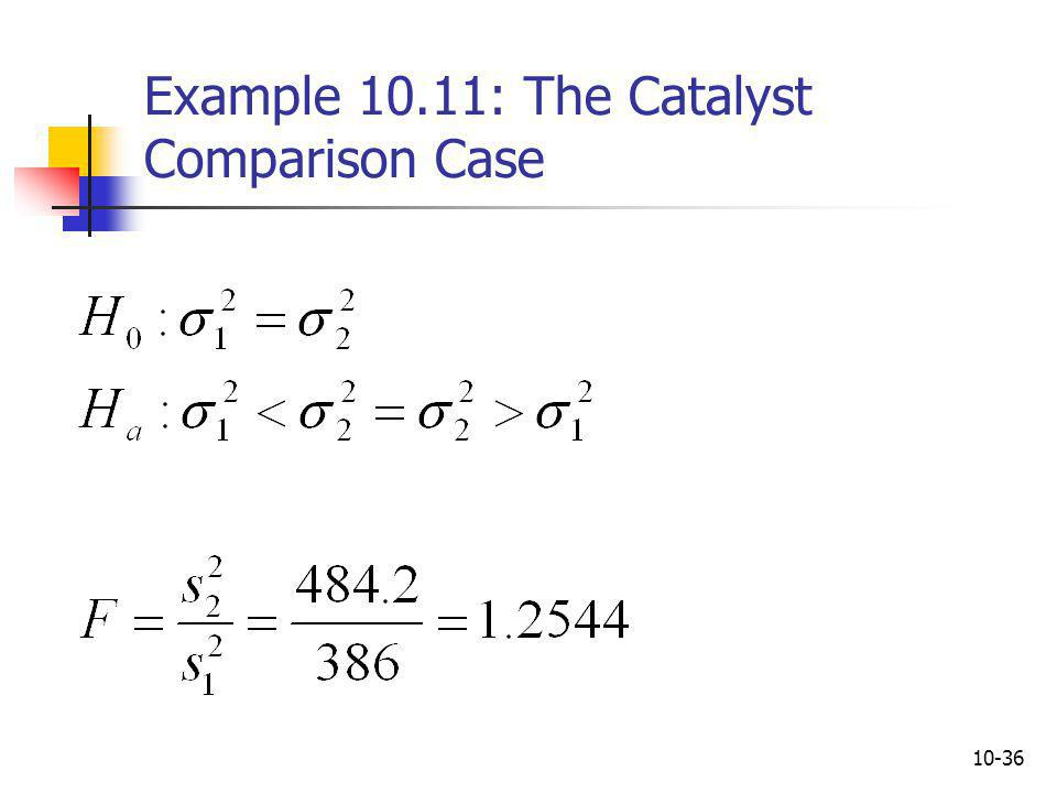 Example 10.11: The Catalyst Comparison Case