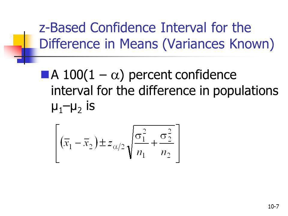 z-Based Confidence Interval for the Difference in Means (Variances Known)