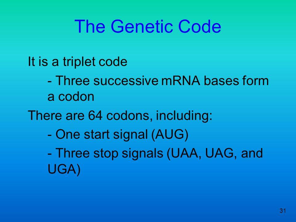 The Genetic Code It is a triplet code