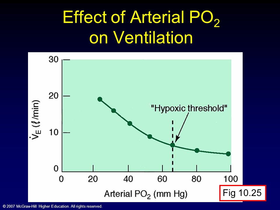 Effect of Arterial PO2 on Ventilation