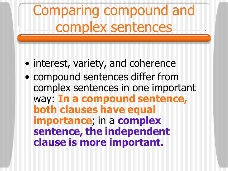 Comparing compound and complex sentences
