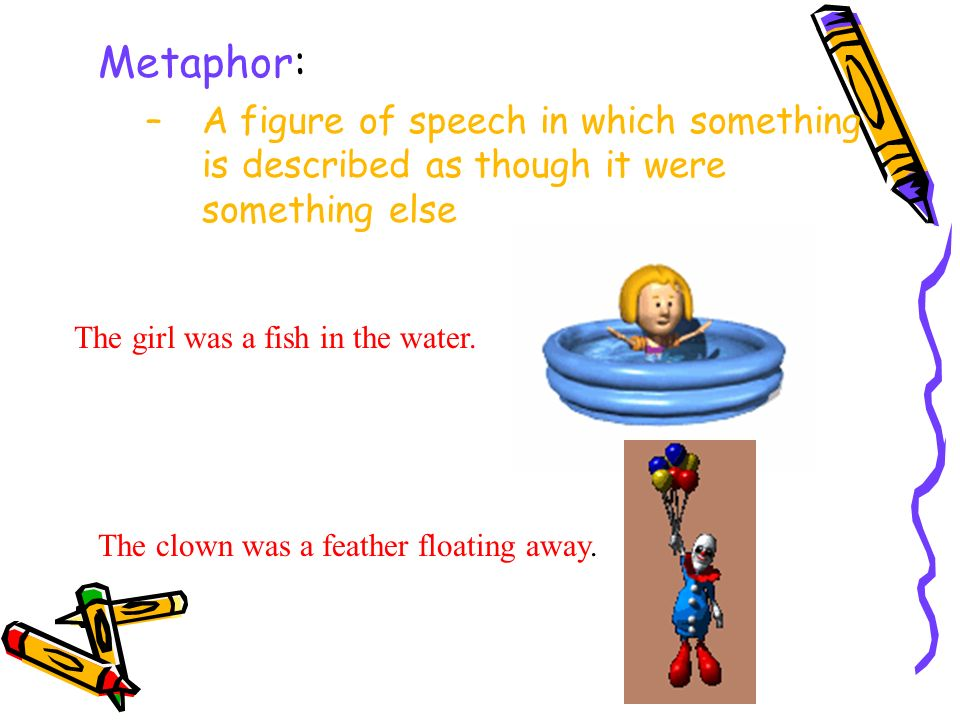 Metaphor: A figure of speech in which something is described as though it were something else. The girl was a fish in the water.
