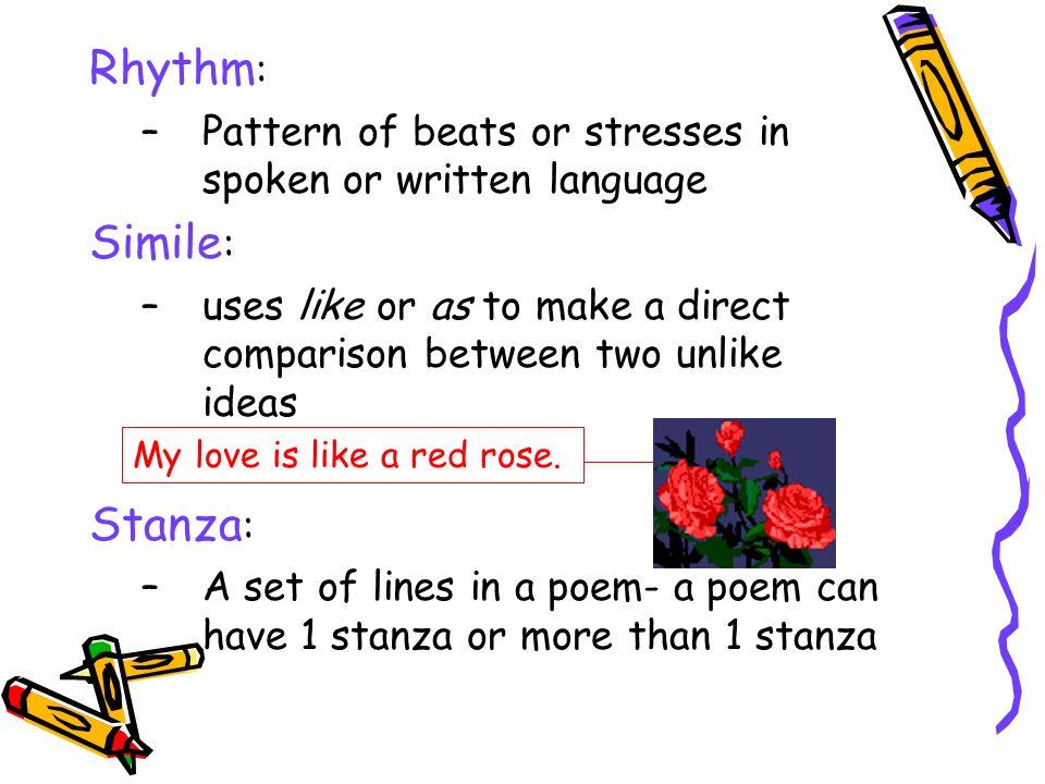 Rhythm: Simile: Stanza: