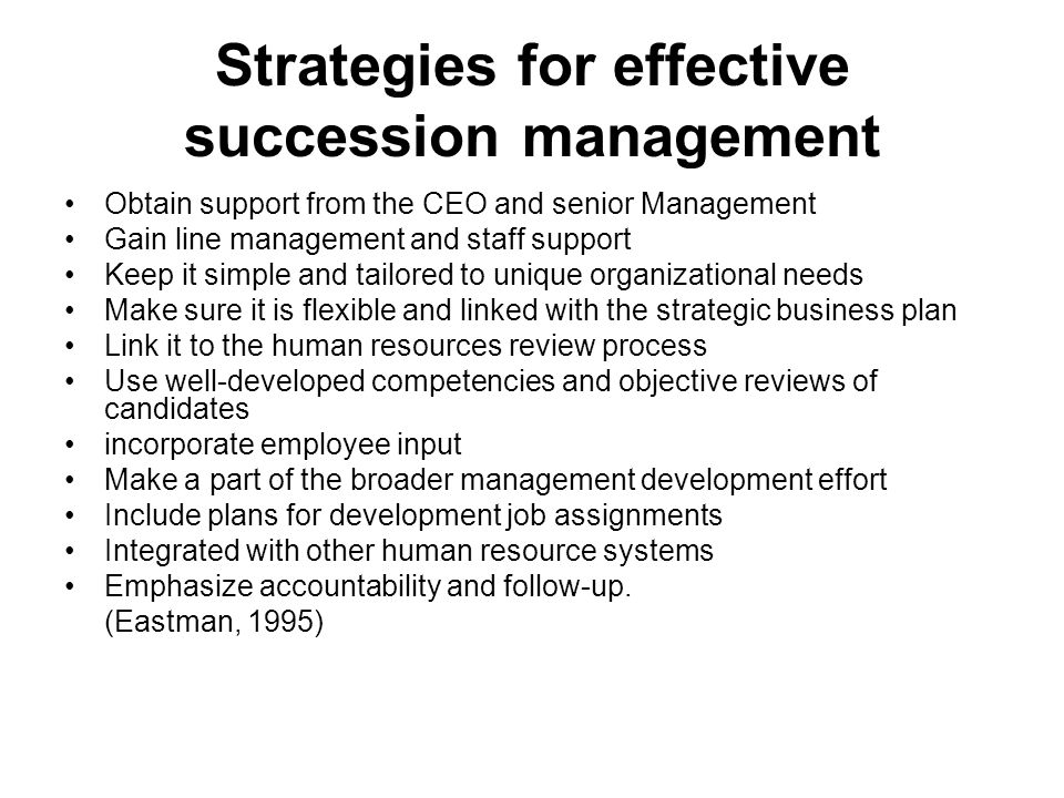 Strategies for effective succession management