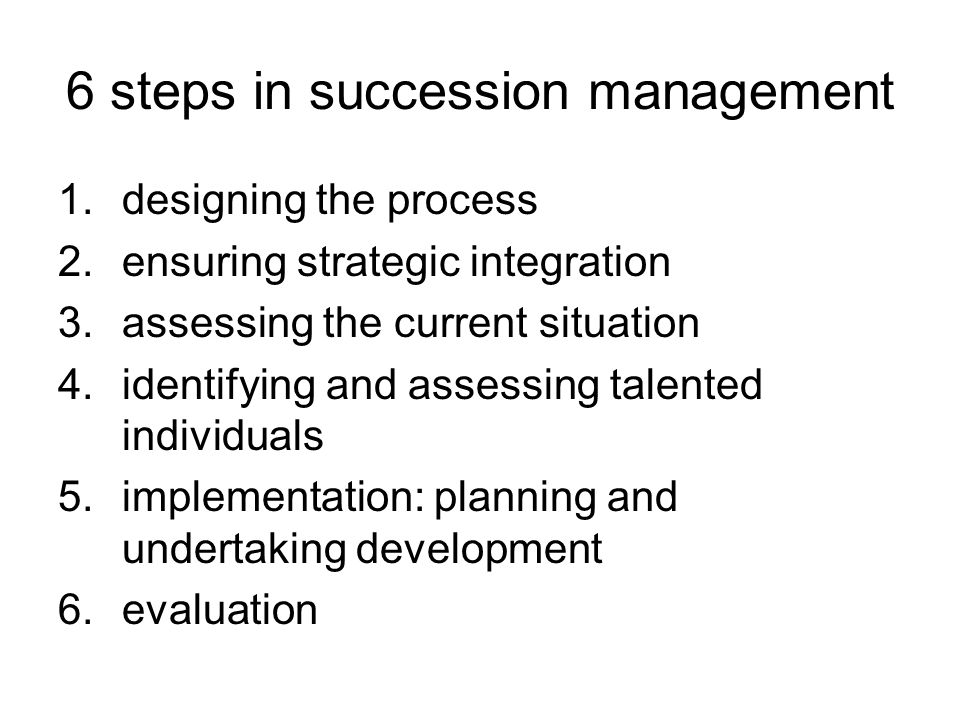 6 steps in succession management