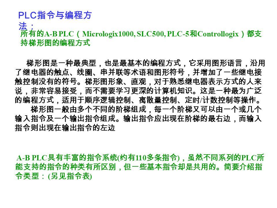 PLC指令与编程方法: 所有的A-B PLC(Micrologix1000, SLC500, PLC-5和Controllogix)都支持梯形图的编程方式.