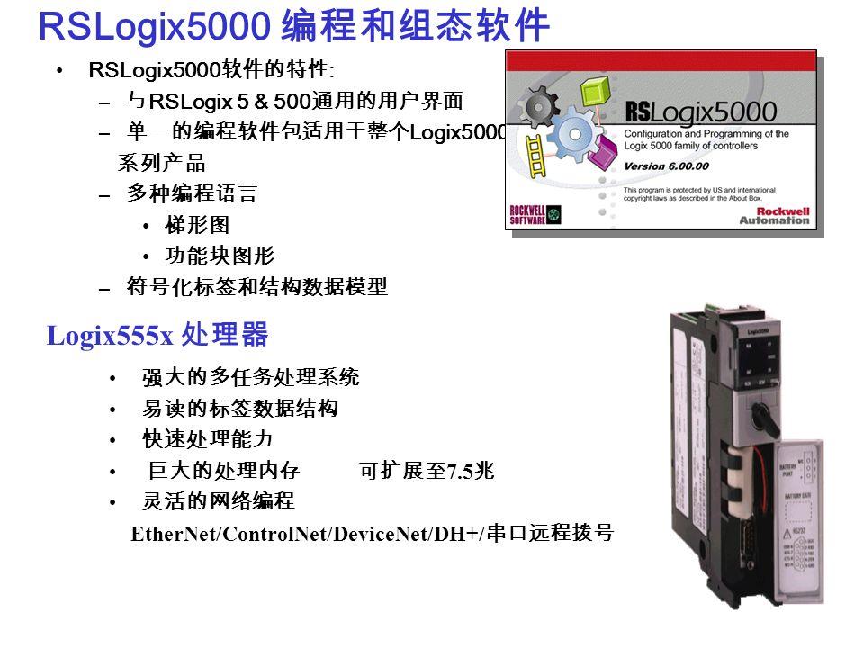 RSLogix5000 编程和组态软件 Logix555x 处理器 RSLogix5000软件的特性: