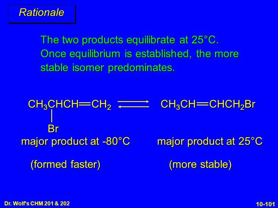 Rationale The two products equilibrate at 25°C. Once equilibrium is established, the more stable isomer predominates.