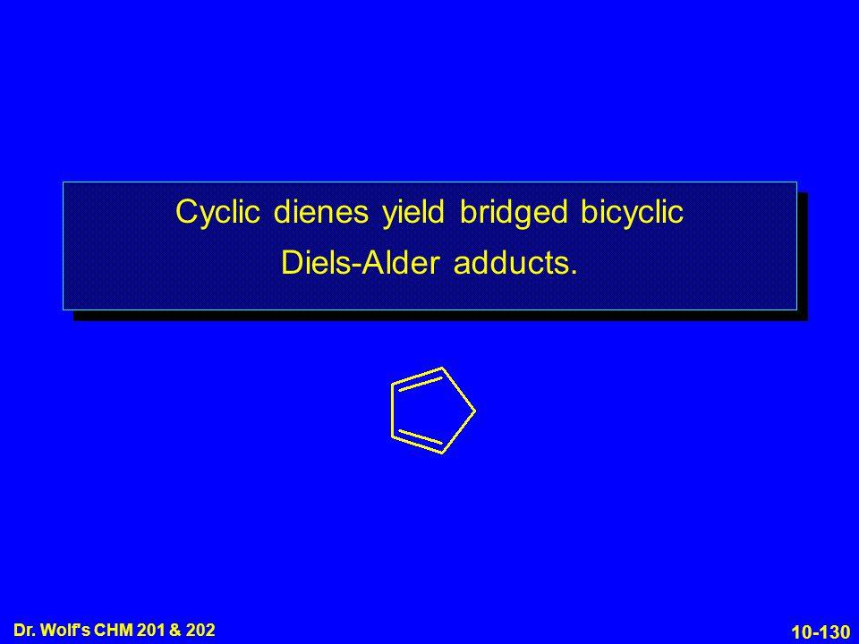 Cyclic dienes yield bridged bicyclic Diels-Alder adducts.