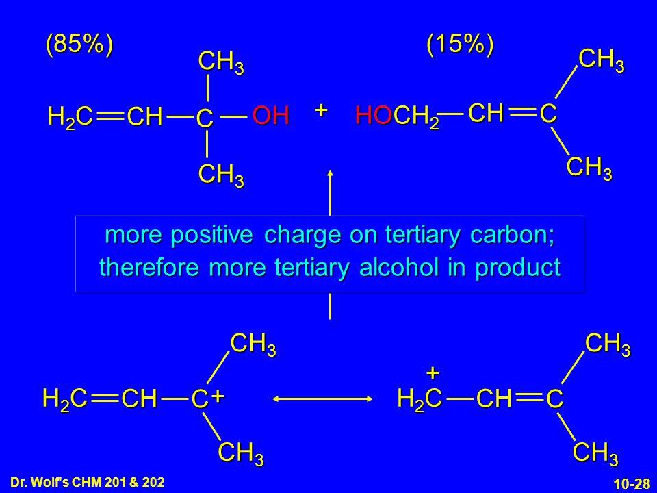 (85%) (15%) CH3 CH3 C + H2C CH OH HOCH2 CH C CH3 CH3