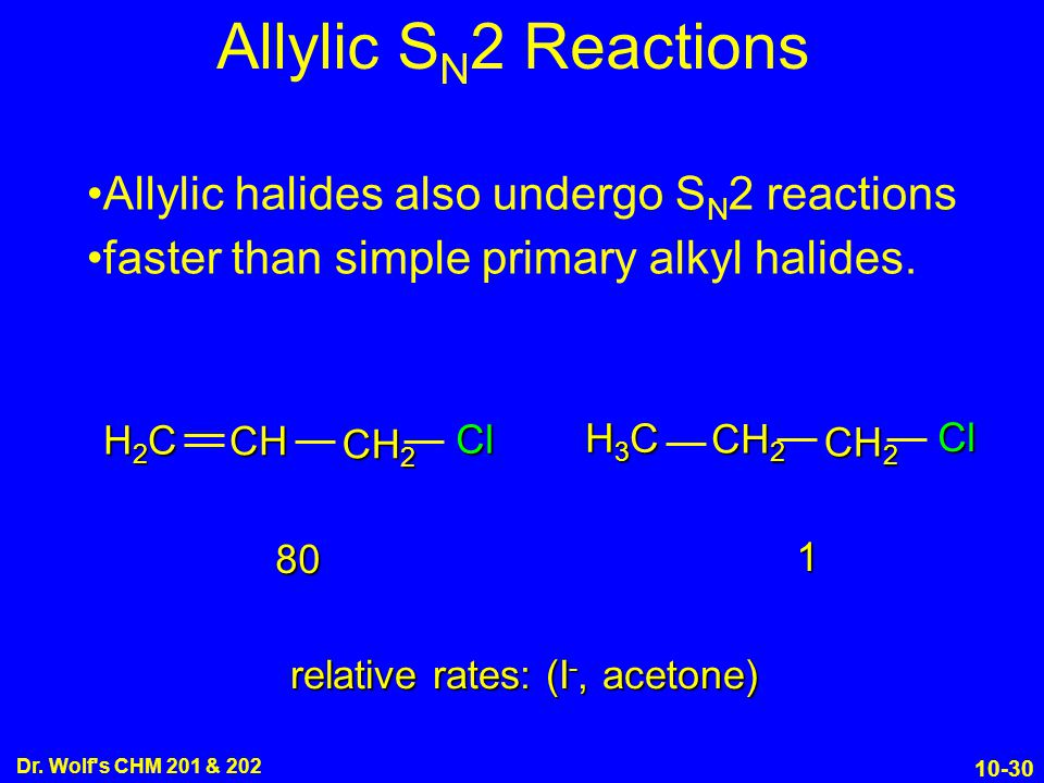 relative rates: (I-, acetone)