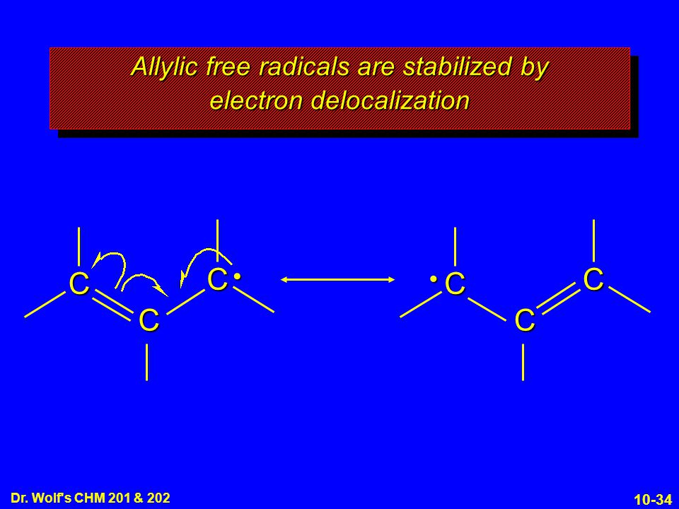 Allylic free radicals are stabilized by electron delocalization