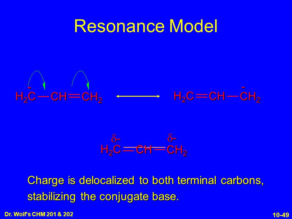 Resonance Model - H2C CH - CH2 H2C CH CH2 CH2 H2C CH -