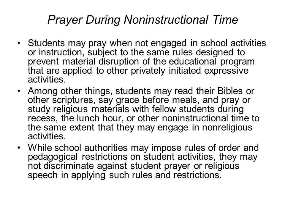 Prayer During Noninstructional Time