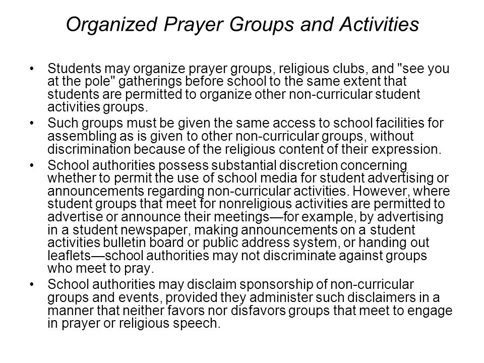 Organized Prayer Groups and Activities